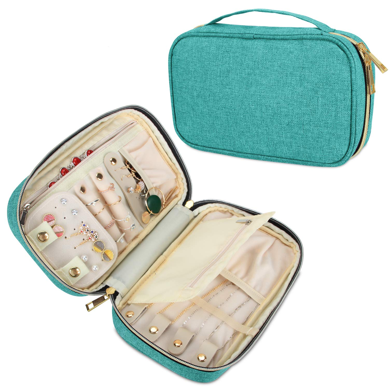 Teamoy Travel Jewelry Organizer Case, Jewelry Storage Bag for Necklaces, Earrings, Bracelets, Rings, Brooches and More, Medium, Green-(Bag Only)