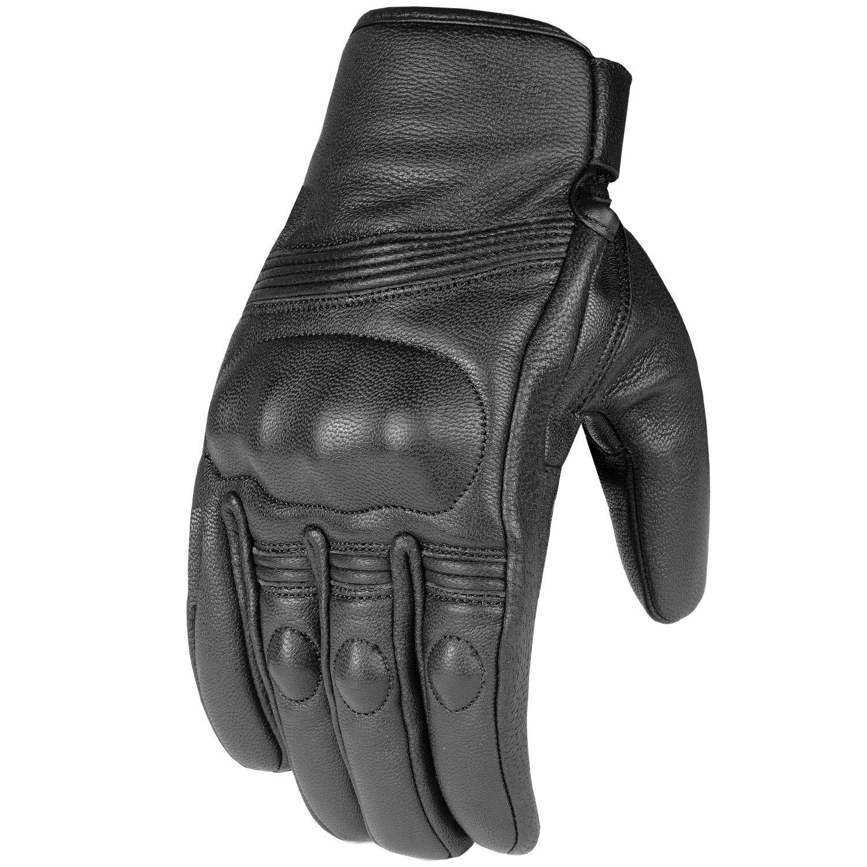 Premium Leather Men's Street Motorcycle Protective Cruiser Biker Gel Gloves XXL