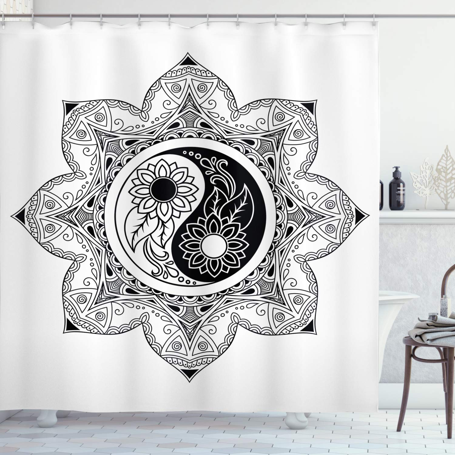 """Ambesonne Ying Yang Shower Curtain, Boho Ying Yang in a Flower Hippie Design Floral Mandala Pattern, Cloth Fabric Bathroom Decor Set with Hooks, 75"""" Long, Black and White"""