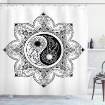 "Ambesonne Ying Yang Shower Curtain, Boho Ying Yang in a Flower Hippie Design Floral Mandala Pattern, Cloth Fabric Bathroom Decor Set with Hooks, 70"" Long, Black and White"