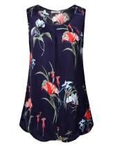 Youtalia Womens Sleeveless Loose Casual Round Neck Shirt Pleats Flowy Tunic Tank Tops