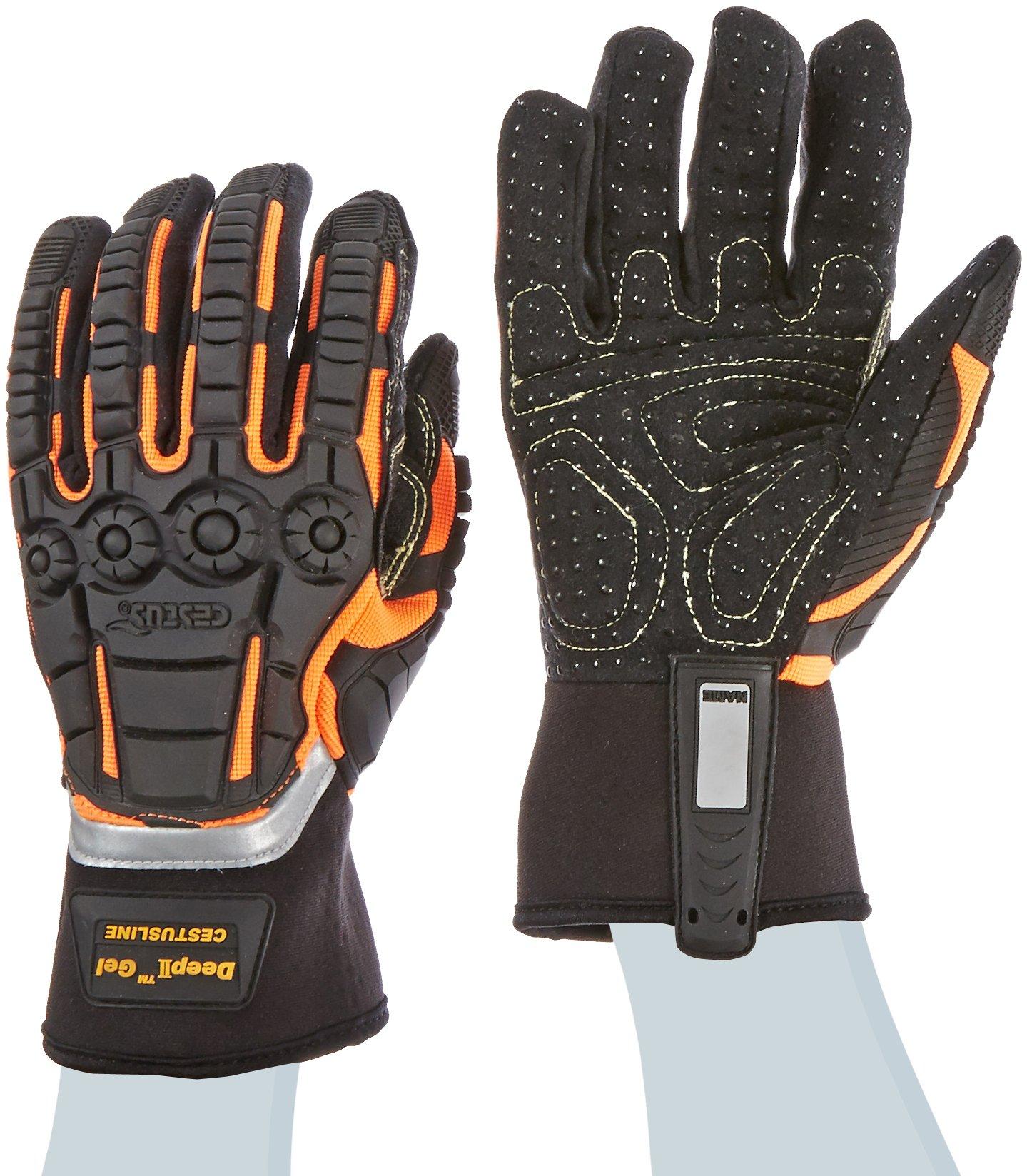 Cestus Pro Series Deep II Gel Impact Glove, Work, Cut Resistant, X-Large, Black (Pack of 1 Pair)