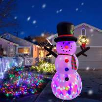 RETRO JUMP 8 Ft Giant Christmas Inflatable Snowman with Magic Hat, Changing Color Lights Blow up Branch Snowman Holiday Outdoor Yard Decorations