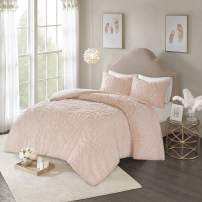 """Madison Park Laetitia Duvet Set Bohemian Tufted 100% Cotton Chenille, Large Medallion, Shabby Chic Cozy All Season Comforter Cover Bed Set with Matching Shams, Twin/Twin XL(68""""x92""""), Blush 2 Piece"""