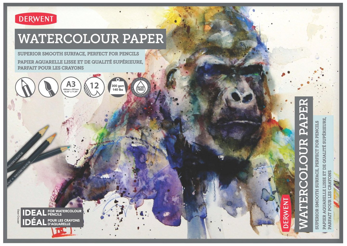 Derwent Watercolor Paper Pad, A3, 16.54 x 11.69 Inches Sheet Size, 12 Sheets (2301971)