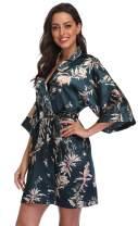 season dressing Women Floral Robes Bridesmaids Short Satin Kimono Sleepwear for Wedding Party