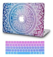 """KECC Laptop Case for MacBook Air 13"""" Retina (2020/2019/2018, Touch ID) w/Keyboard Cover Plastic Hard Shell Case A2179/A1932 2 in 1 Bundle (Purple Medallion)"""