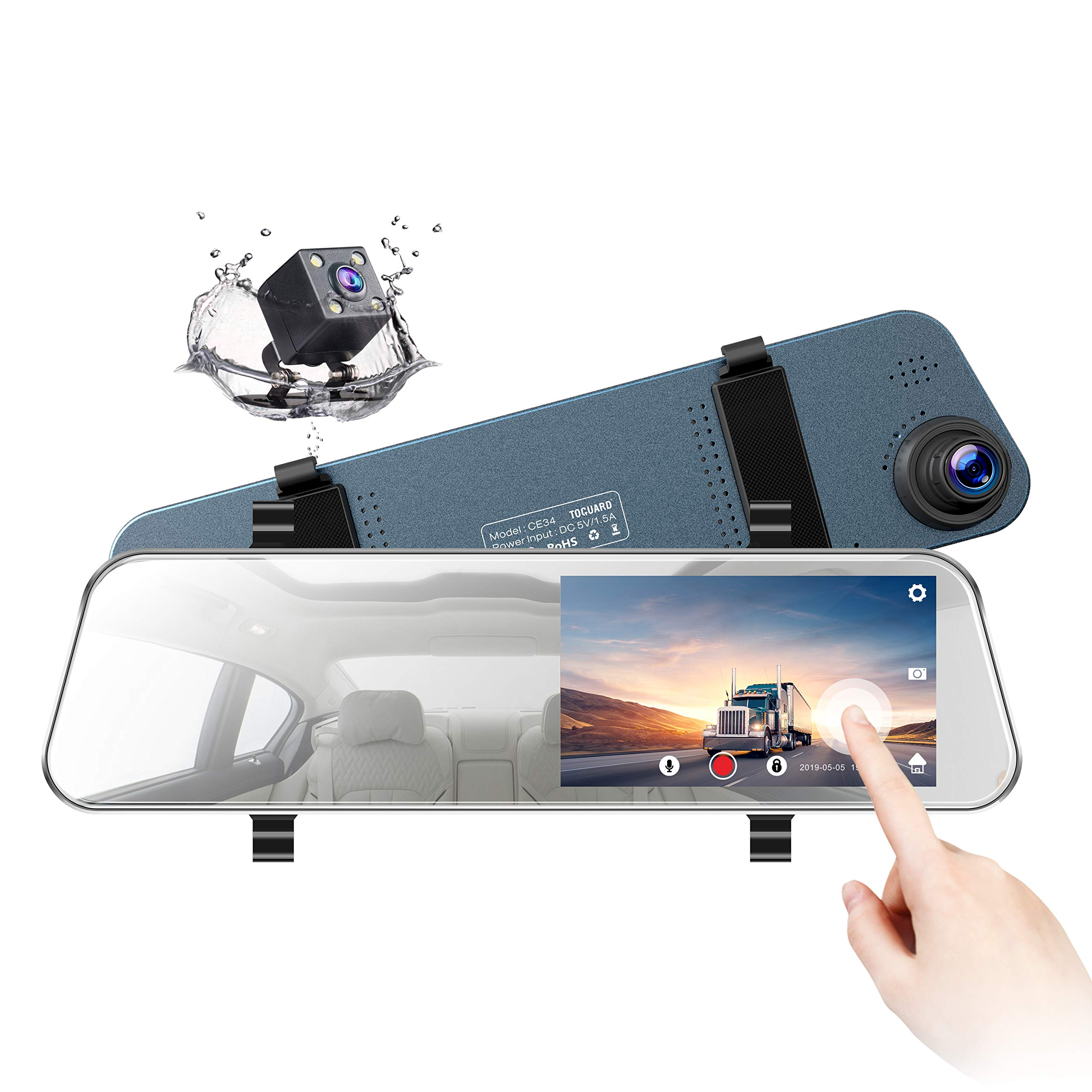 """TOGUARD Backup Camera 5"""" LCD Mirror Dash Cam Rear View Mirror Camera Ultra-Thin Touch Screen Full HD 1080P Dash Cam Front and Rear Dual Lens with Waterproof Rear Camera"""