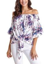 Irevial Women's Off Shoulder Tops Casual Striped Floral Tie Knot Front 3/4 Flare Sleeve Blouses Shirts