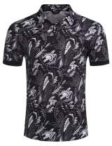 COOFANDY Men's Paisley Polo Shirt Casual Short Sleeve Floral Print Shirt