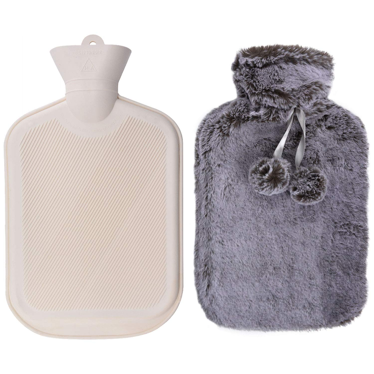 WINNPRIME Hot Water Bottle 2 Liters, Natural Rubber Hot Water Bag with Luxurious Faux Fur Cover, Great for Pain Relief, Hot Compress and Heat Therapy (Gray)