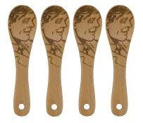Talisman Designs Get Real Beechwood Mini Spoons, Set of 4, Pop Art Guy