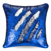 "URSKYTOUS Reversible Sequin Pillow Case Decorative Mermaid Pillow Cover Color Changing Cushion Throw Pillowcase 16"" x 16"",Dark Blue and Silver"
