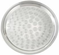 Winco Round Tray with Swirl Pattern, 16-Inch, Stainless Steel