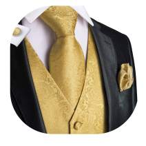 Dubulle Mens Solid Tie and Vest Set with Pocket Square Cufflinks Waistcoat Suit for Tuxedo