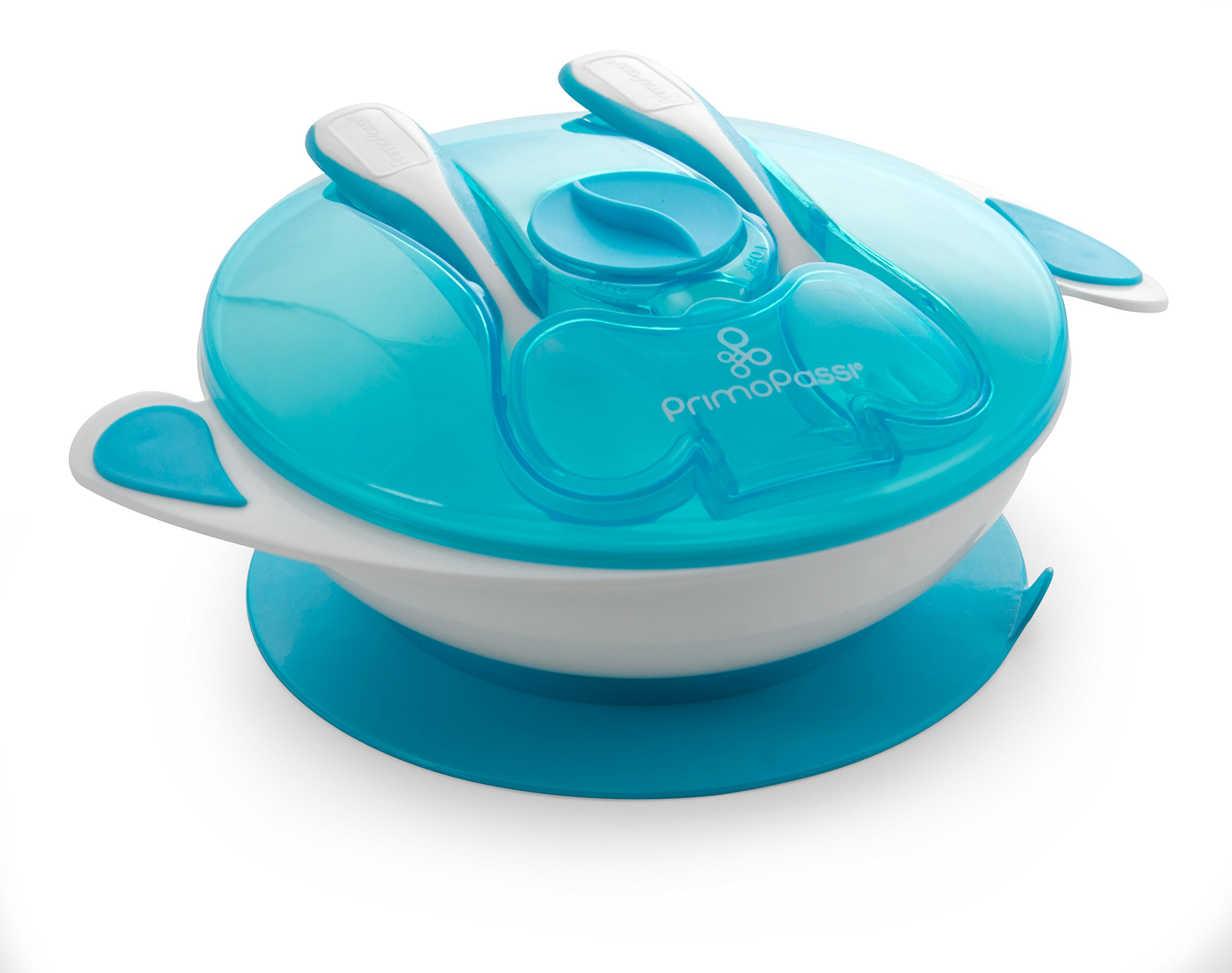 Primo Passi Baby Suction Bowl with Utensils, Fork & Spoon   Baby Bowls   Bowl for Babies (Blue)