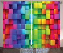 "Ambesonne Colorful Curtains, Rainbow Colored Contour Display Futuristic Block Brick-Like Geometric Artisan, Living Room Bedroom Window Drapes 2 Panel Set, 108"" X 84"", Rainbow Colors"