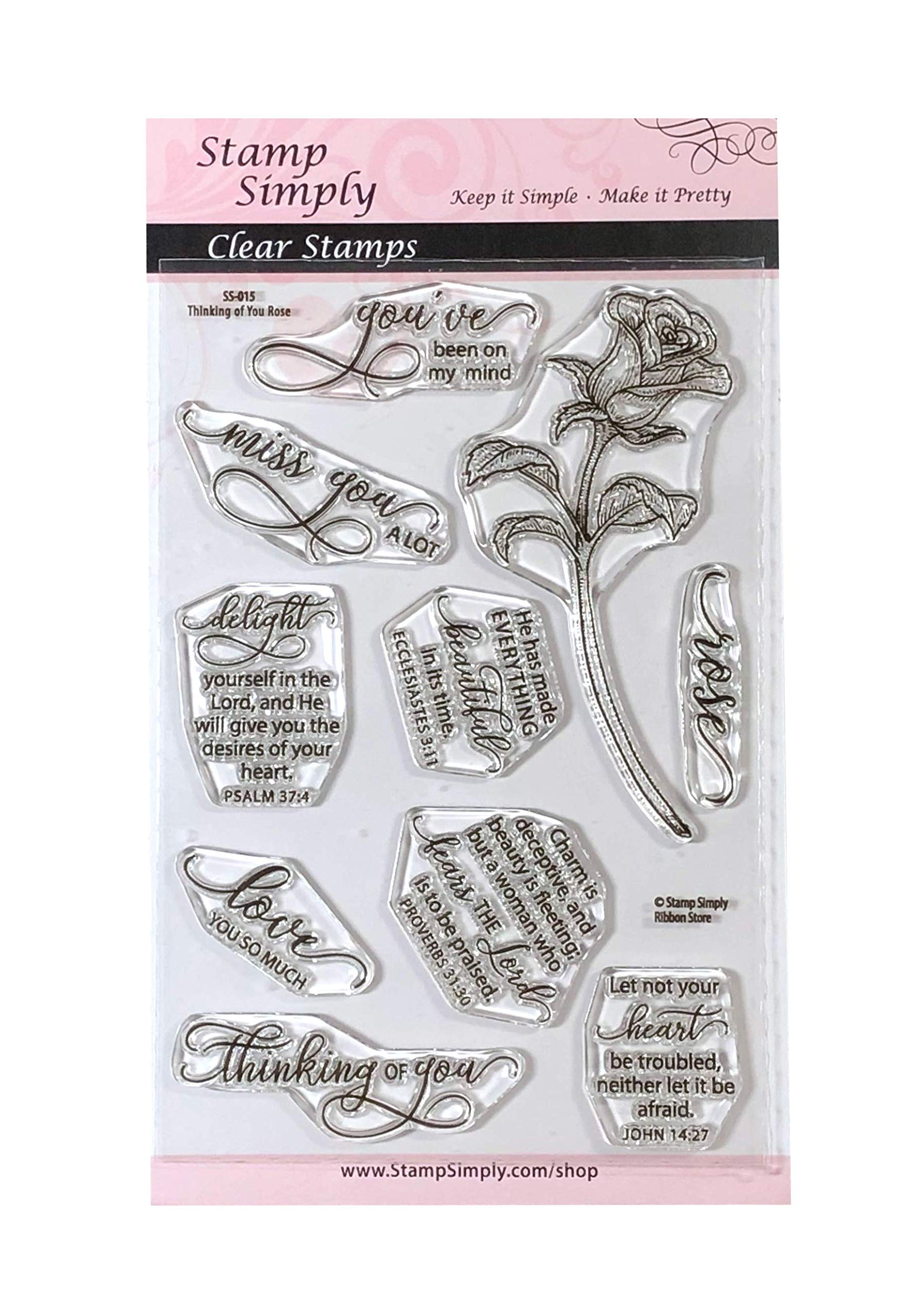 Stamp Simply Clear Stamps Thinking of You Rose Garden Flower Christian Religious 4x6 Inch Sheet - 10 Pieces
