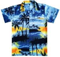 Virgin Crafts Hawaiian Shirts for Men Front Pocket Short Sleeve Beach Palm Aloha