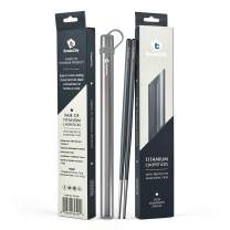 Chopsticks (New Color), 1 Pair of Titanium Chopsticks Ultra Lightweight Professional (Ti), Super Strong Healthy and Eco-Friendly 1 Pair of Chopstick Comes with Free Aluminium Case (Black)