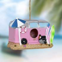"""Exhart Pink Retro RV Bus Bird House – Quality Pink Vintage Bus Mini House for Birds with Rope - Hanging Retro Camper Birdhouse Decor - Best as Resin Outdoor Decor for Garden, Porch, and Yard, 8"""" x 5"""""""