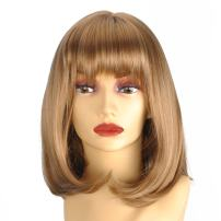 """GEX Women's Synthetic Wig Straight Bob Kanekalon Girls Fiber Full Wigs Like Real Human Hair for Daily Party 27-101 12"""""""