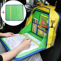 KIPTOP Toddler Car Seat Travel Tray with Reinforced Surface - Play Tray for Travel by Car and Plane -Road Trip Essential - Carry as Backpack or Messenger Bag - Waterproof & Durable - Green …