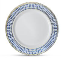 """[20 Count - 6"""" Plates] Laura Stein Designer Tableware Premium Heavyweight Plastic White Dessert Plate With Blue & Gold Border Plastic Party & Wedding Plate Midnight Blue Series Disposable Dishes"""