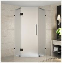 """Aston Neoscape 36"""" x 36"""" x 72"""" Completely Frameless Neo-Angle Shower Enclosure in Frosted Glass, Oil Rubbed Bronze"""