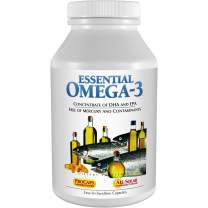 Andrew Lessman Essential Omega-3 Unflavored 180 Softgels - Ultra-Pure, High Potency Omega-3 Oils. High DHA, No Stomach Upset, No Contaminants, No Mercury. Small Easy to Swallow Softgels