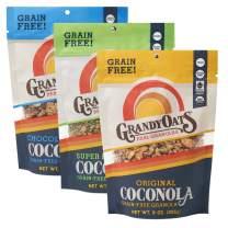 GrandyOats Grain Free Granola | Variety Pack Coconola | Certified Organic, Gluten Free, Paleo, Dairy Free, Low Sugar, Low Carb, & Kosher | 9oz Bags, Bulk Pack of 3