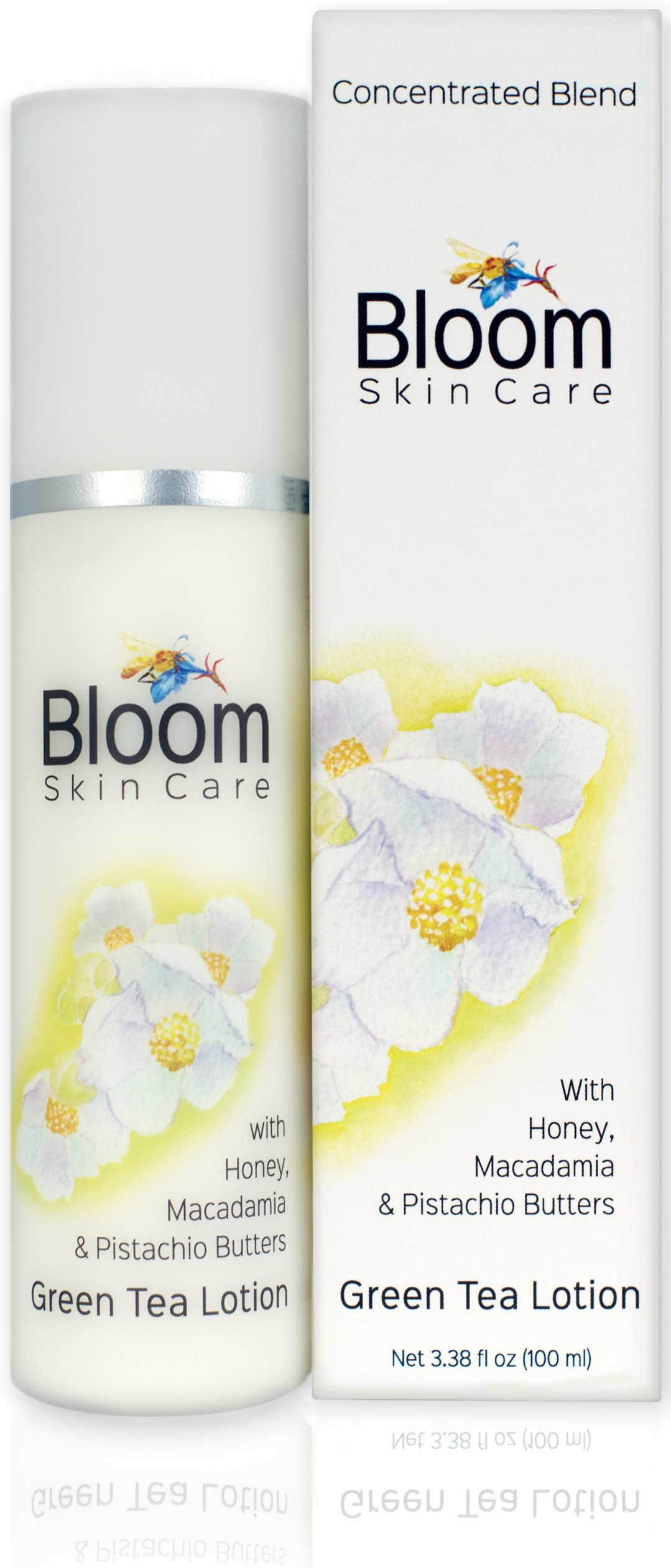 Bloom Skin Care Hand and Body Lotion - Green Tea 3.38 oz - Natural Moisturizing Cream for Women and Men - Paraben Free and Cruelty Free - Anti Aging with Powerful Ingredients and Honey