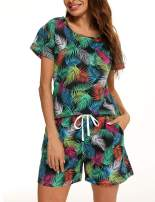 ENJOYNIGHT Women's Cute Sleepwear Print Tee and Shorts Pajama Set