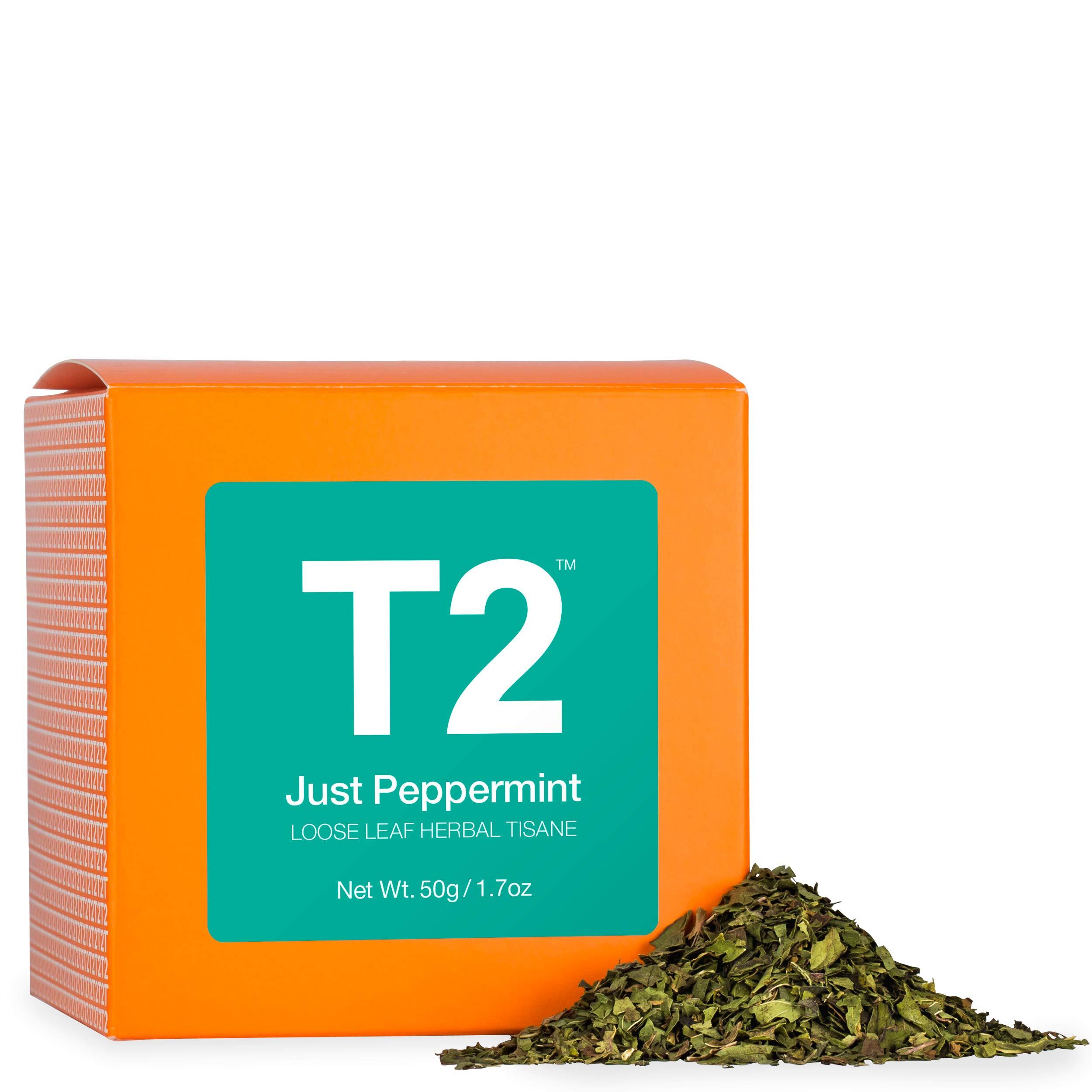 T2 Tea - Just Peppermint Herbal Tea, Loose Leaf Herbal Tea in a Box, 50g (1.7oz)