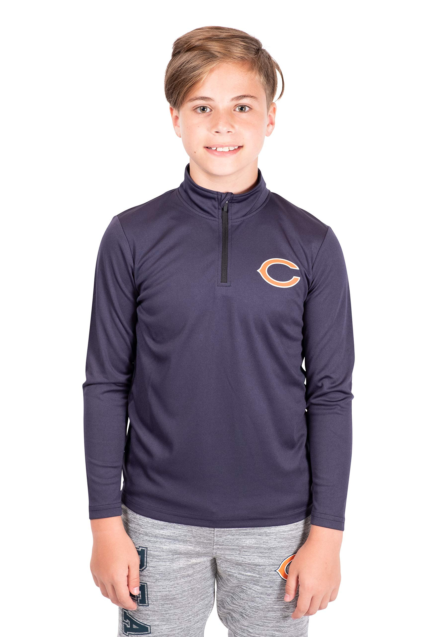 Ultra Game NFL Chicago Bears Boy's Quarter Zip Pullover Athletic Quick Dry Long Sleeve Tee Shirt, Navy, 14-16