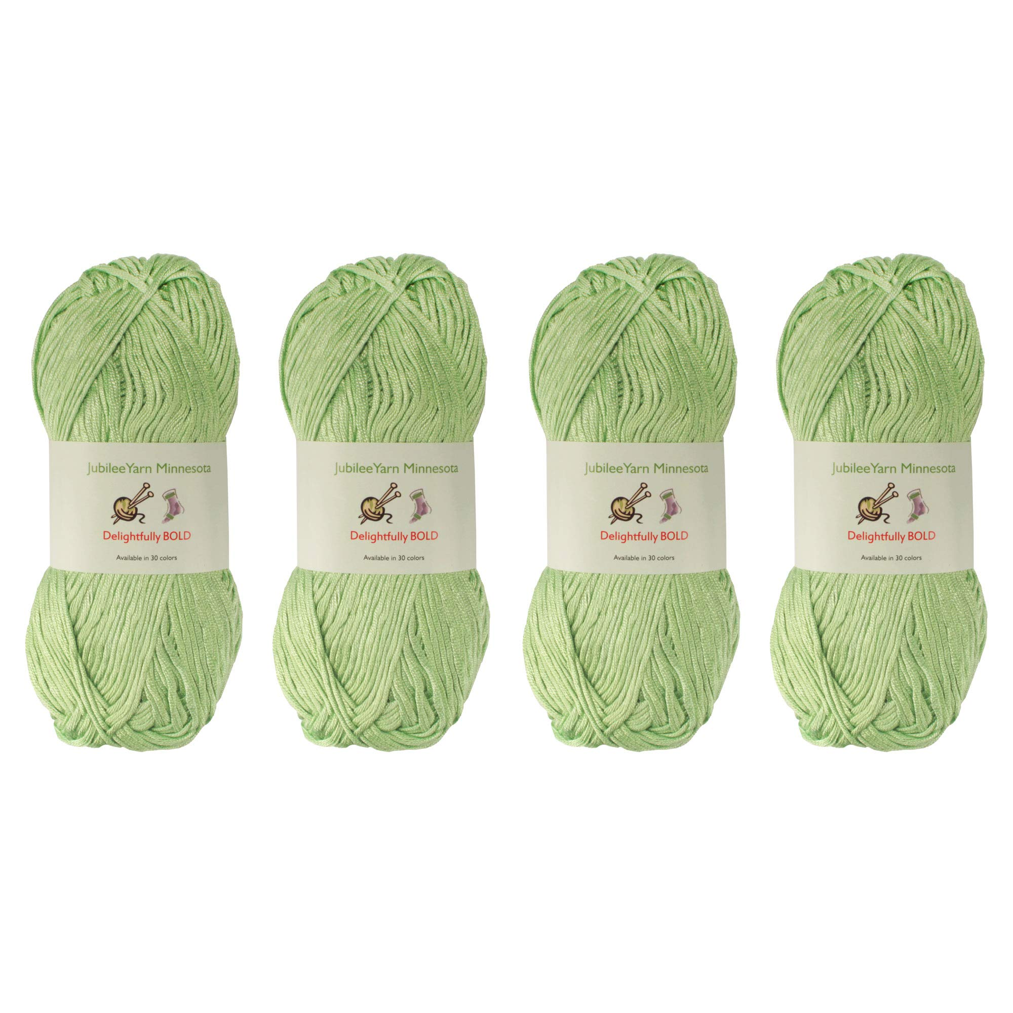 Delightfully Bold Tencel Worsted Weight Yarn, 100g Per Skein, 4 Skeins Color 06 Green Hill