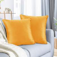 "Nestl Bedding Throw Pillow Cover 20"" x 20"" Soft Square Decorative Throw Pillow Covers Cozy Velvet Cushion Case for Sofa Couch Bedroom, Set of 2, Orange"