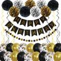 Gold Black Birthday Balloons Decorations Women Men Birthday Party Supplies Including Pom Poms Flowers Happy Birthday Banner Dots Garland Hanging Swirls and Balloons Confetti
