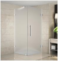 """Aston Aquadica 36"""" x 36"""" x 72"""" Completely Frameless Square Hinged Shower Enclosure in Frosted Glass, Stainless Steel"""