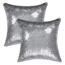 uxcell Pack of 2,Sequin Throw Pillow Covers,Shiny Sparkling Comfy Satin Cushion Covers,Decorative Pillowcases for Party/Christmas/Thanksgiving/New Year,16 x 16 Inch, Silver Tone