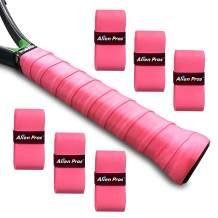 Alien Pros Tennis Racket Grip Tape (6 Grips) – Precut and Dry Feel Tennis Grip – Tennis Overgrip Grip Tape Tennis Racket – Wrap Your Racquet for High Performance (6 Grips, Pink)