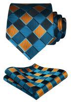 HISDERN Men's Tie Handkerchief Jacquard Woven Classic Necktie & Pocket Square Set