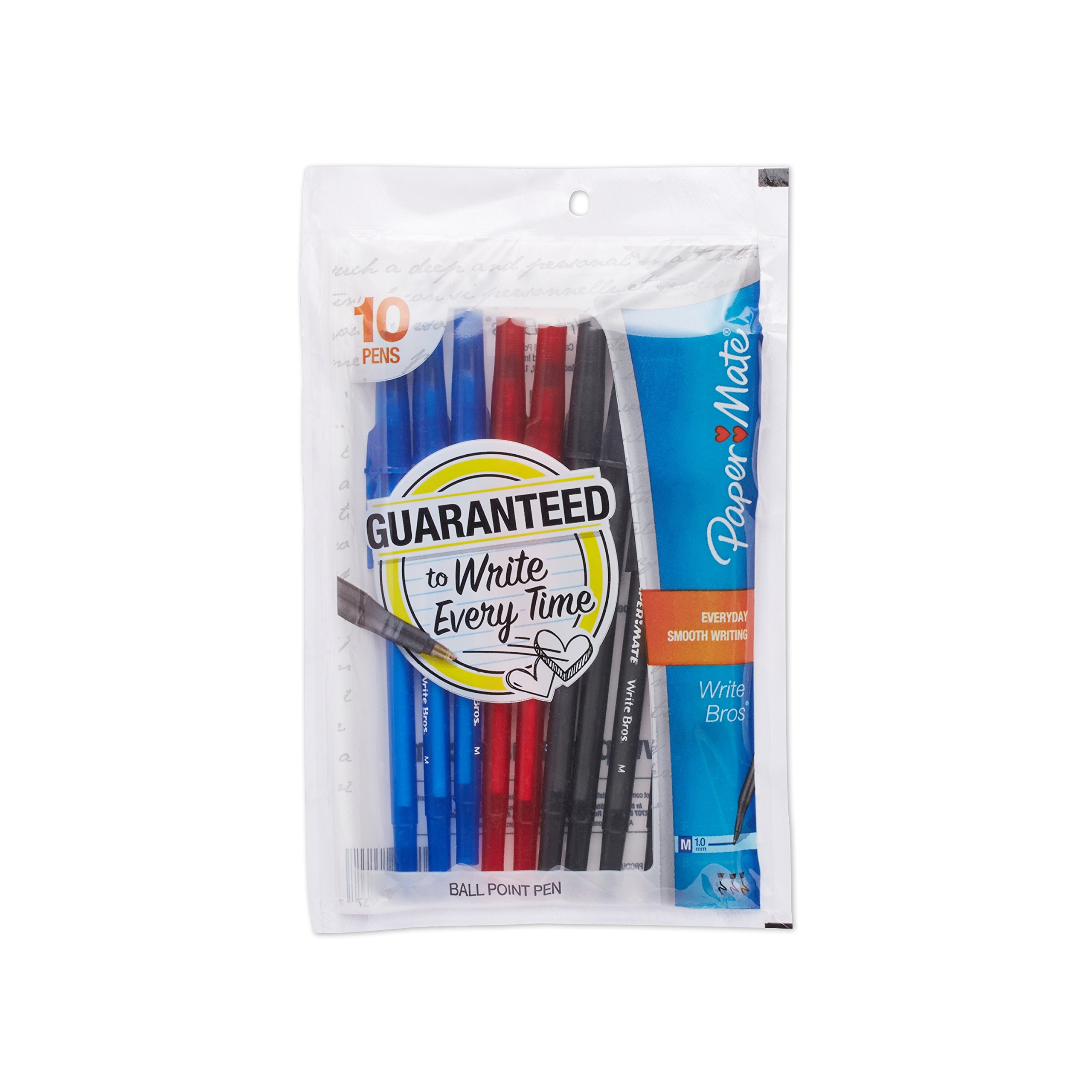 Paper Mate Write Bros Ballpoint Pens, Medium Point (1.0mm), Assorted Colors, 10 Count