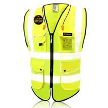 KwikSafety (Charlotte, NC) SUPERIOR (9 Pockets) Class 2 ANSI High Visibility Reflective Safety Vest Heavy Duty Mesh Zipper and Hi Vis Construction Surveying Engineering Work HiViz Men Yellow Large