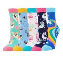 Zmart Girls Socks Funny Unicorn Animal Food Llama Teeth Socks For Kids Gift Box