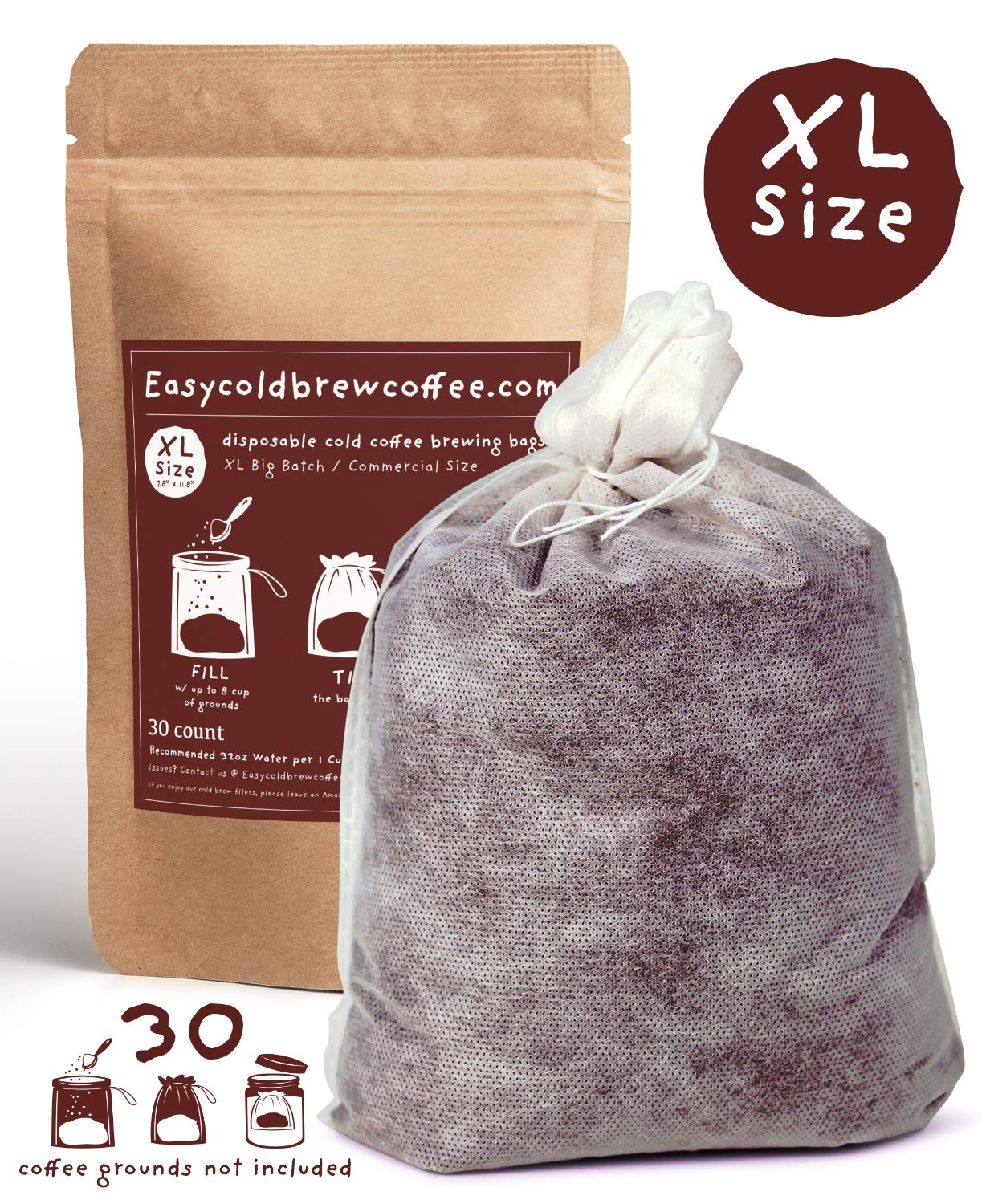 Cold Brew Coffee Filters -Single Use Filter Sock Packs, Disposable, Fine Mesh Brewing Bags for Concentrate, Iced Coffee Maker, French/Cold Press Kit, Tea in Mason Jar or (30 Pack - Commercial Size)