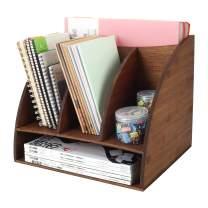 TQVAI Bamboo Desktop File Rack Holder 3 Tier Vertical Workspace Supplies Storage Organizer, Retro Brown