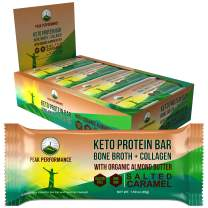 Keto Bars - Grass Fed Collagen + Bone Broth with Organic Almond Butter. 12 Pack. Keto Protein Bar Snacks. No Gluten or Added Sugar. 4 Delicious Flavors. Keto + Paleo Perfect Snack Bar. Salted Caramel