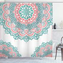 """Ambesonne Oriental Shower Curtain, Soft Colored Mandala South Culture Inspired Floral Image, Cloth Fabric Bathroom Decor Set with Hooks, 70"""" Long, Turquoise Coral"""