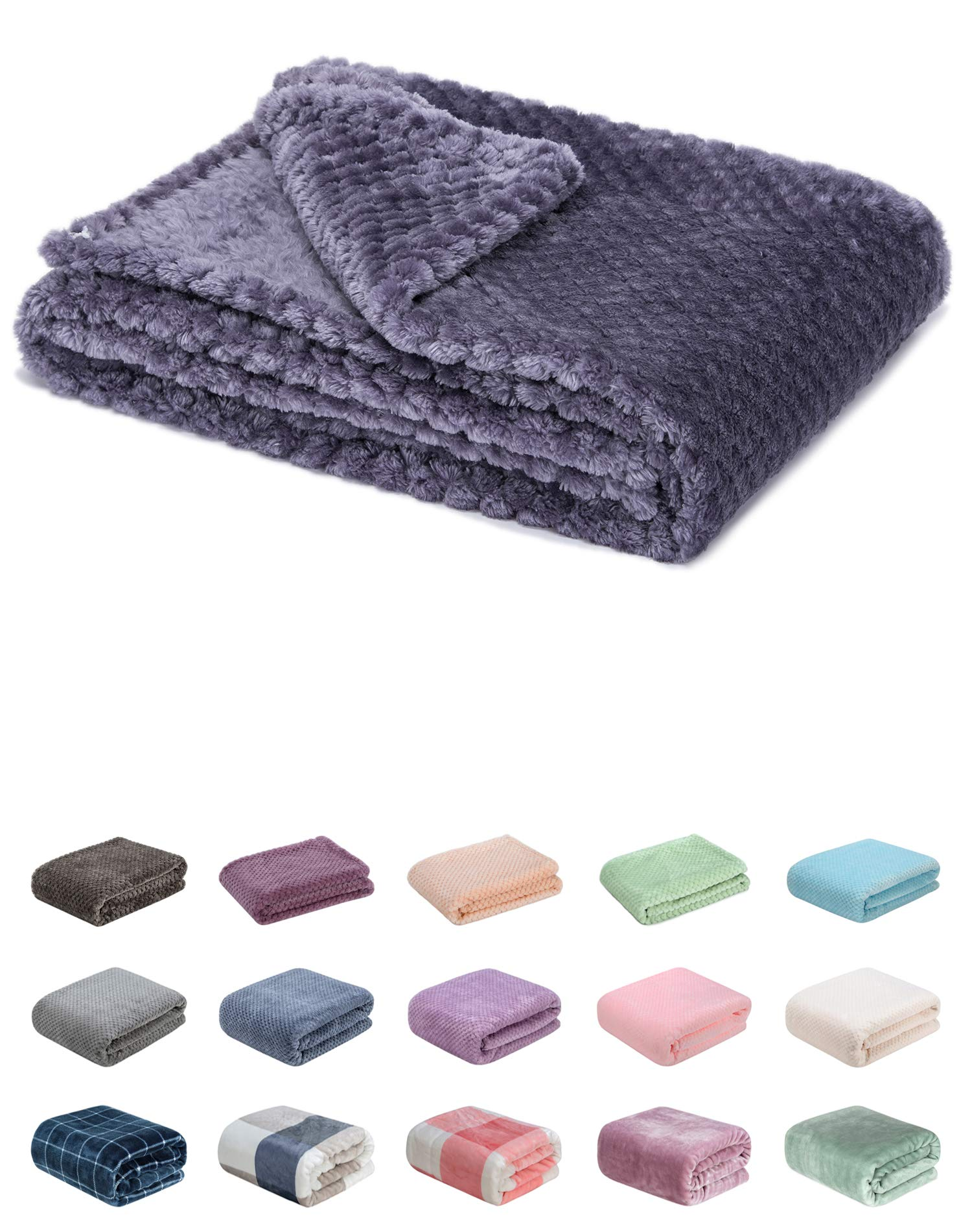 Fuzzy Blanket or Fluffy Blanket for Baby Girl or boy, Soft Warm Cozy Coral Fleece Toddler, Infant or Newborn Receiving Blanket for Crib, Stroller, Travel, Decorative (28Wx40L, XS-Grape Purple)